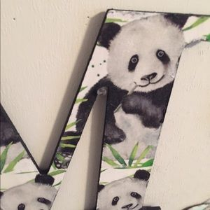 """Wall Art - Wooden Letter M Panda 9.5"""" Price Firm"""
